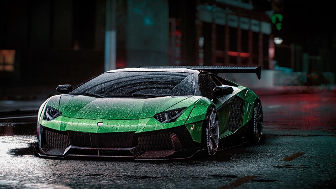 Обои для рабочего стола Need for Speed Lamborghini Aventador Liberty Walk, 2015 game art зеленые Игры капля авто Ламборгини зеленых Зеленый зеленая Капли капель капельки компьютерная игра машина машины автомобиль Автомобили