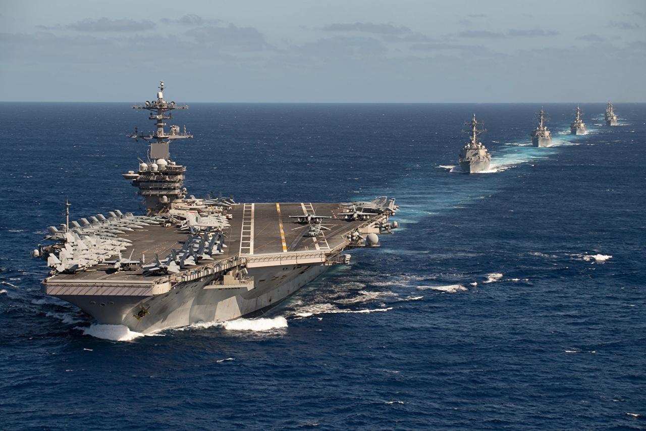 Обои для рабочего стола Авианосец USS Theodore Roosevelt, TR Strike Group, CVN 71 Океан Корабли военные корабль Армия