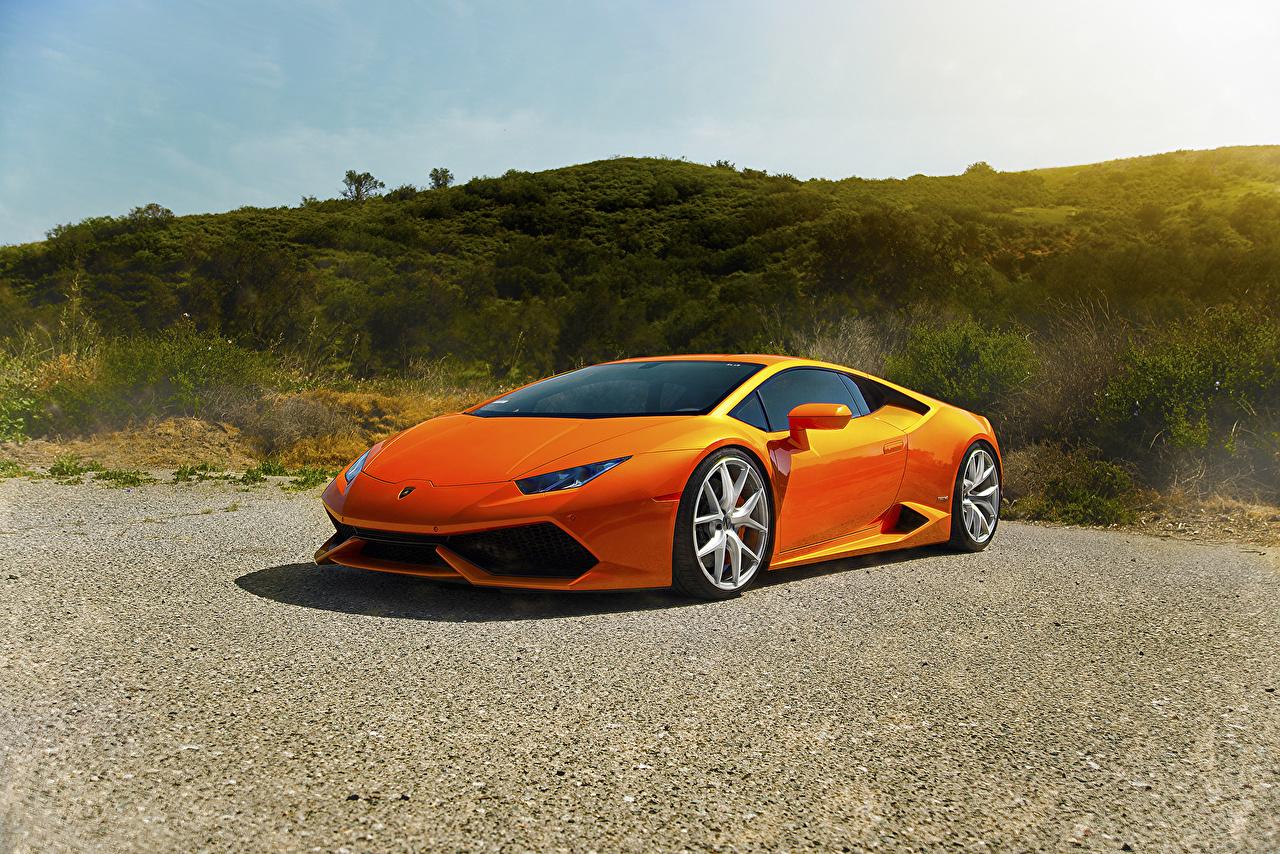 Фото Ламборгини Huracan LP640-4 Diamond Роскошные Оранжевый машина асфальта Lamborghini дорогие дорогой дорогая люксовые роскошная роскошный оранжевых оранжевые оранжевая авто машины Асфальт автомобиль Автомобили