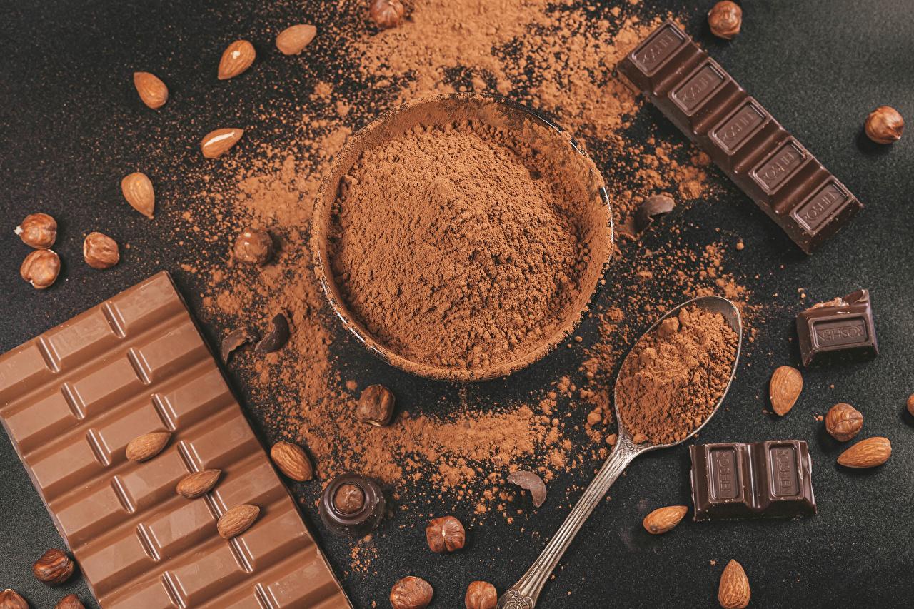 Фото Шоколадная плитка Шоколад Какао порошок Пища Орехи шоколадка Еда Продукты питания