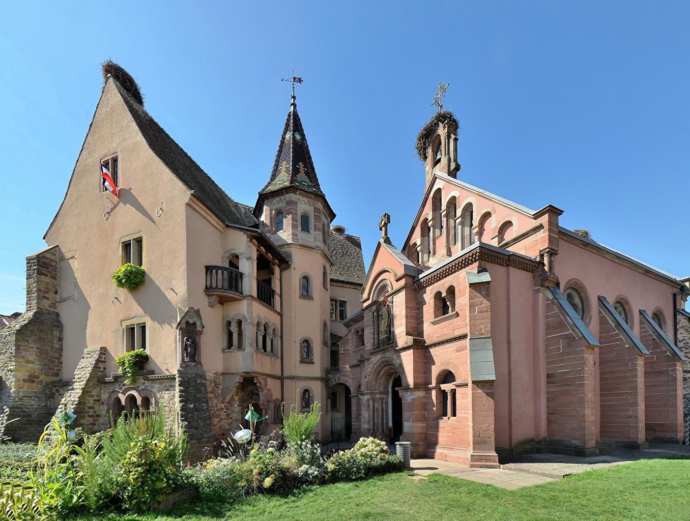 Картинки Франция Eguisheim Saint-Leon Castle Замки город Дизайн замок Города дизайна
