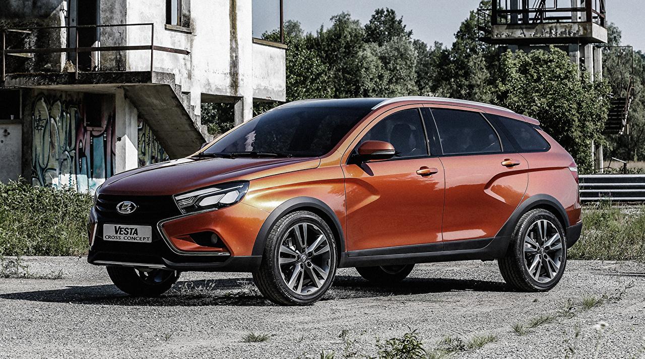 Фотографии Лада Vesta Cross Concept оранжевых автомобиль Оранжевый оранжевые оранжевая авто машина машины Автомобили