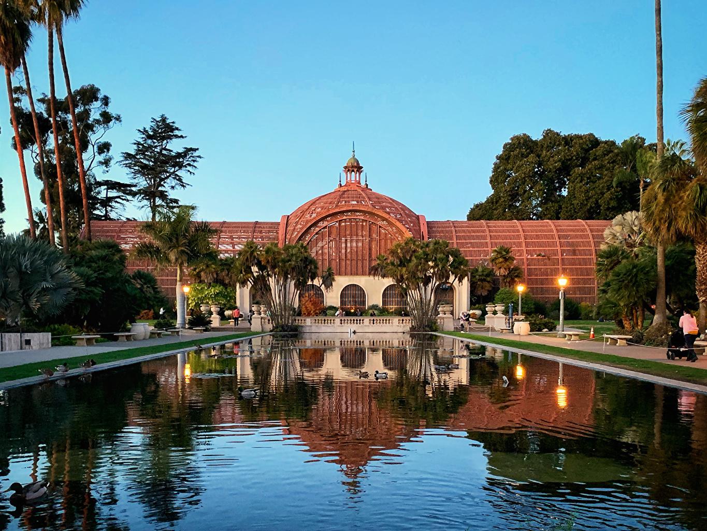 Фото Сан-Диего Калифорния США Balboa Park Природа Пруд Парки Пальмы Уличные фонари Здания калифорнии штаты америка парк пальм пальма Дома