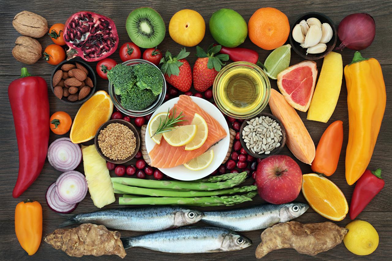 Картинки Рыба Еда Перец Овощи Фрукты Орехи Цитрусовые Пища перец овощной Продукты питания