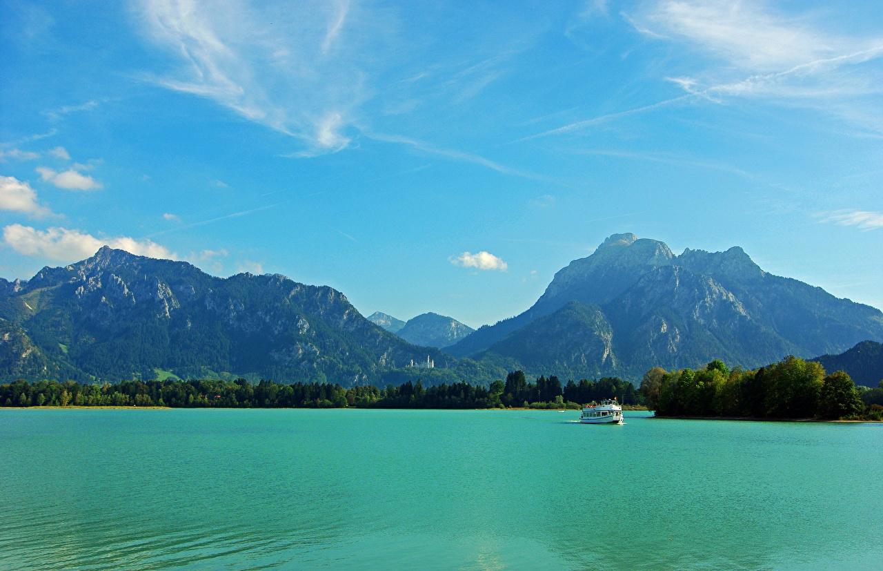 Фото Бавария Германия Füssen гора Природа Небо Пейзаж речка Горы Реки река