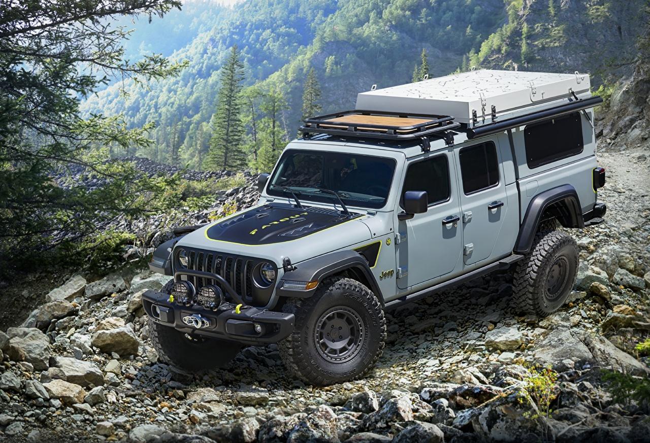 Фотография Джип SUV 2020 Gladiator Farout Concept серая машины Jeep Внедорожник Серый серые авто машина Автомобили автомобиль