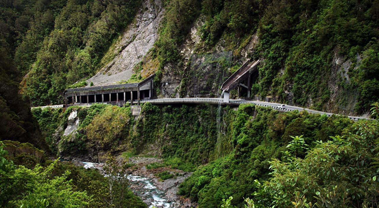 Обои Новая Зеландия Selwyn District Canterbury Скала ручеек Природа Дороги Утес Ручей скале скалы