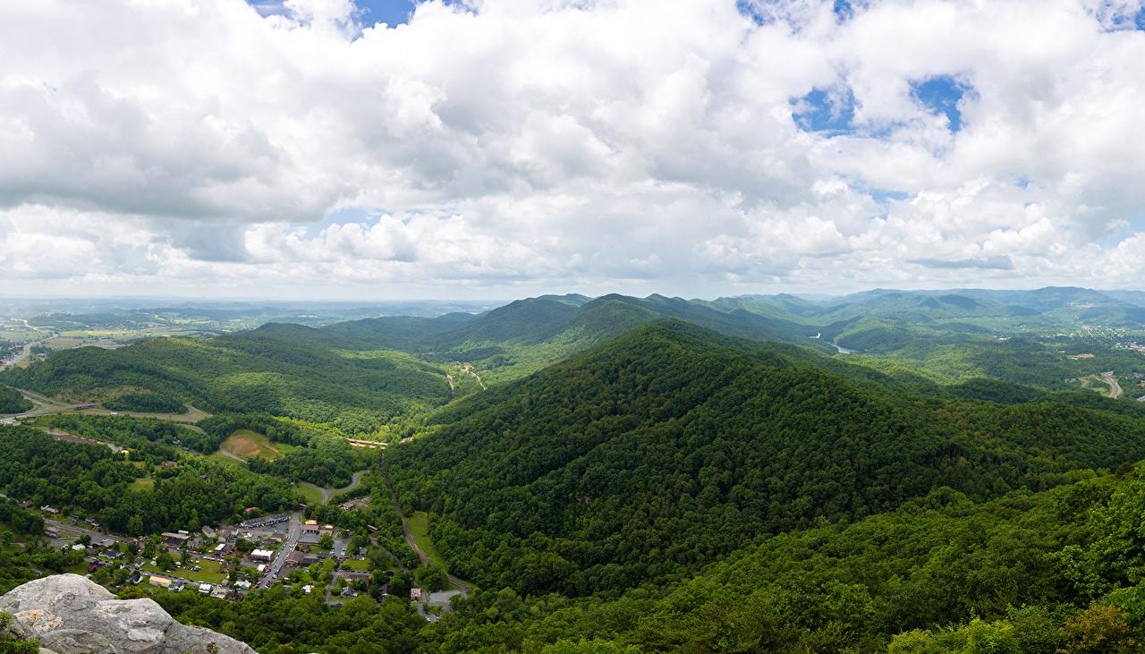 Фотография америка Lee Virginia Горы Природа Леса облачно США штаты гора лес облако Облака