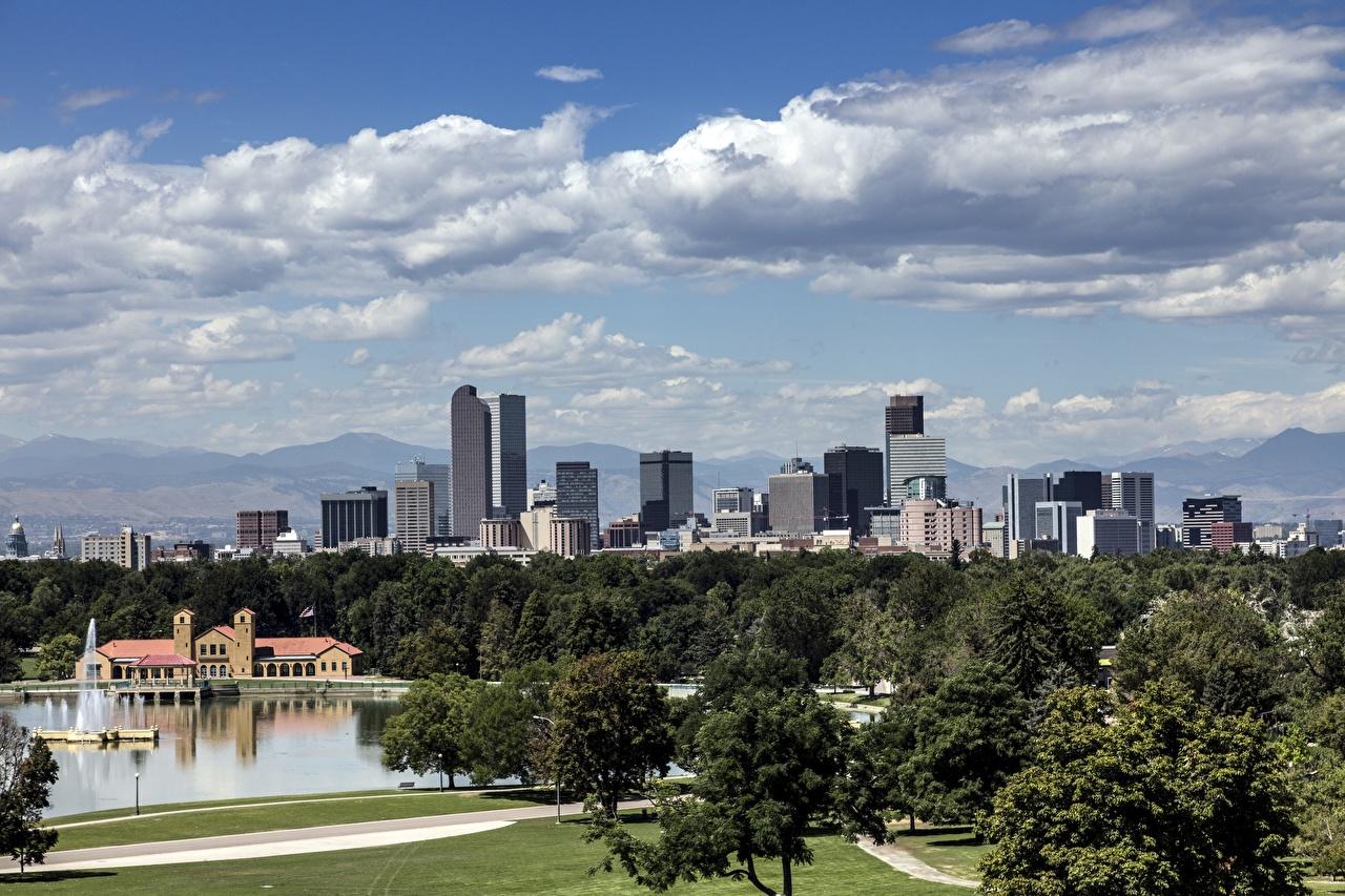 Картинки штаты Denver, Colorado Небоскребы Города Деревья США