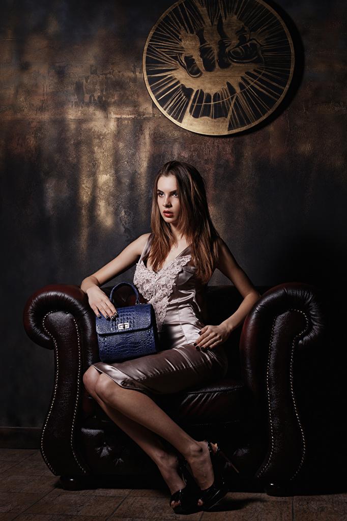 Фотография Viacheslav Krivonos Модель Alice Девушки Сумка Сидит Кресло Платье Туфли  для мобильного телефона фотомодель девушка молодая женщина молодые женщины сидя сидящие платья туфель туфлях
