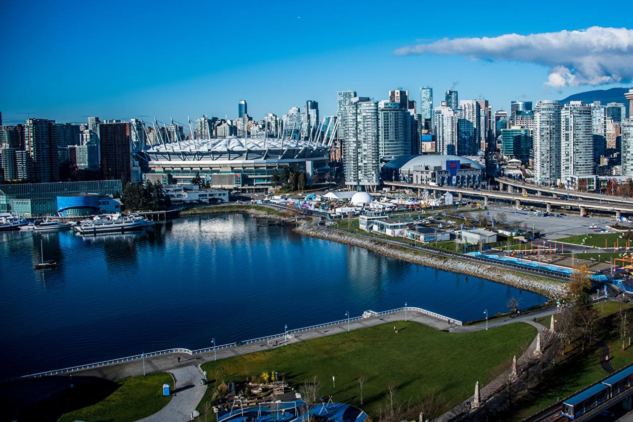 Фото Ванкувер Канада Залив Причалы город Здания Пирсы залива заливы Пристань Дома Города