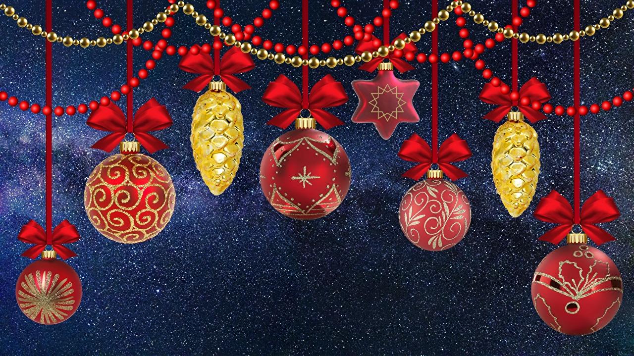Обои для рабочего стола Новый год Шар Шишки бантики игрушка Рождество бант шишка Шарики Бантик Игрушки