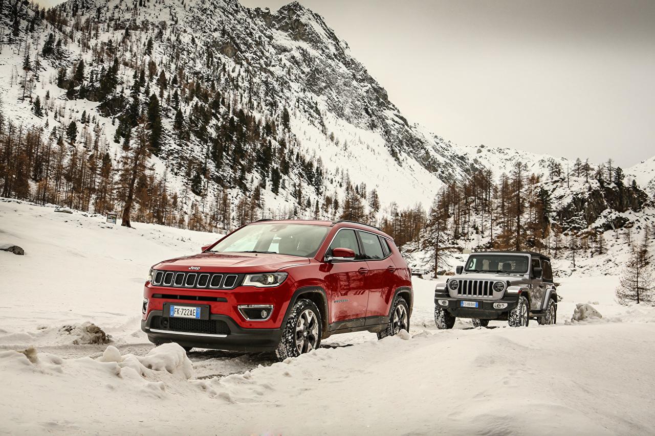 Обои Джип SUV Двое Снег Металлик Автомобили Jeep Внедорожник 2 вдвоем Авто Машины