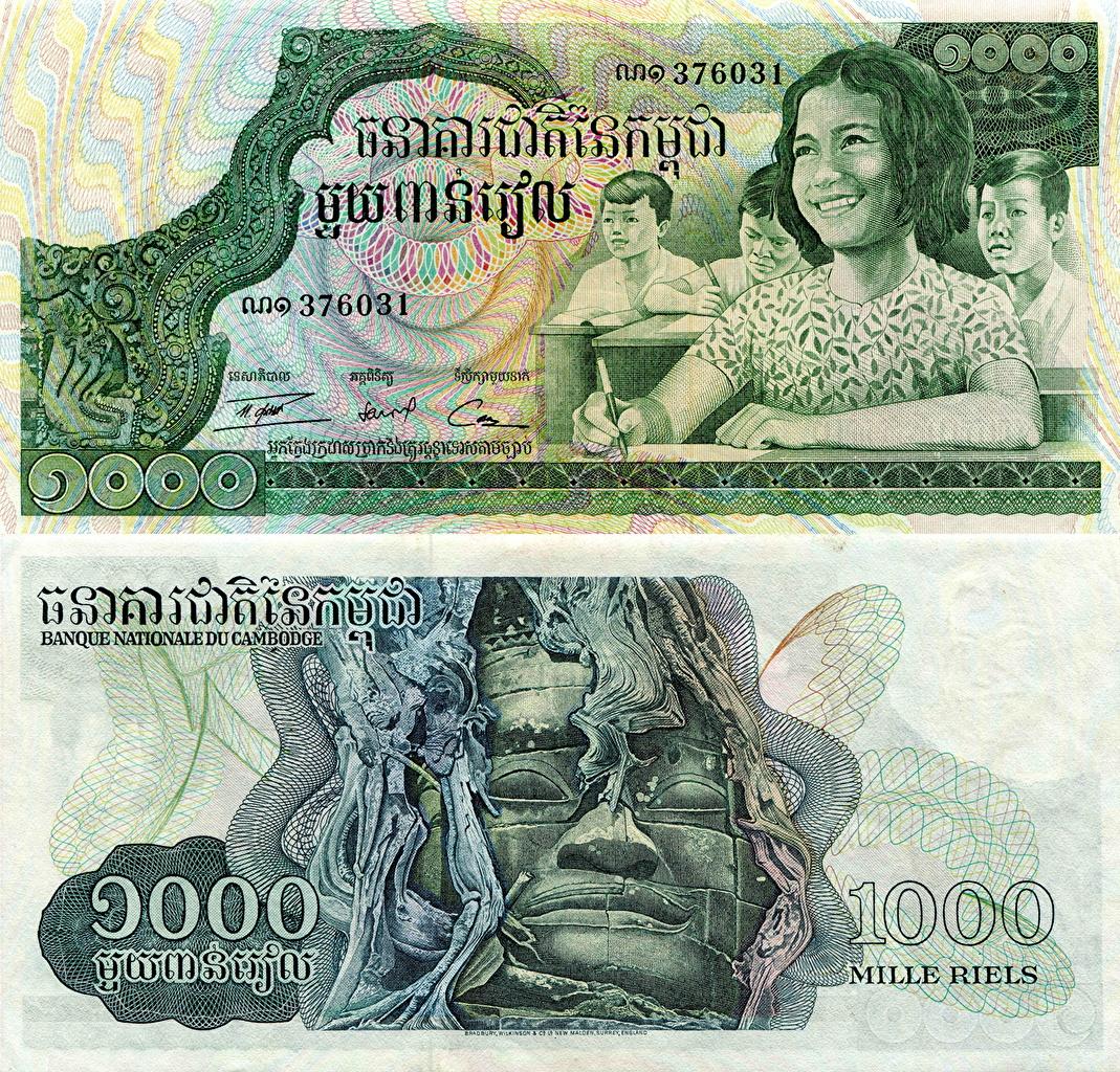 Фотографии Банкноты 1000 riels Cambodia Деньги Купюры