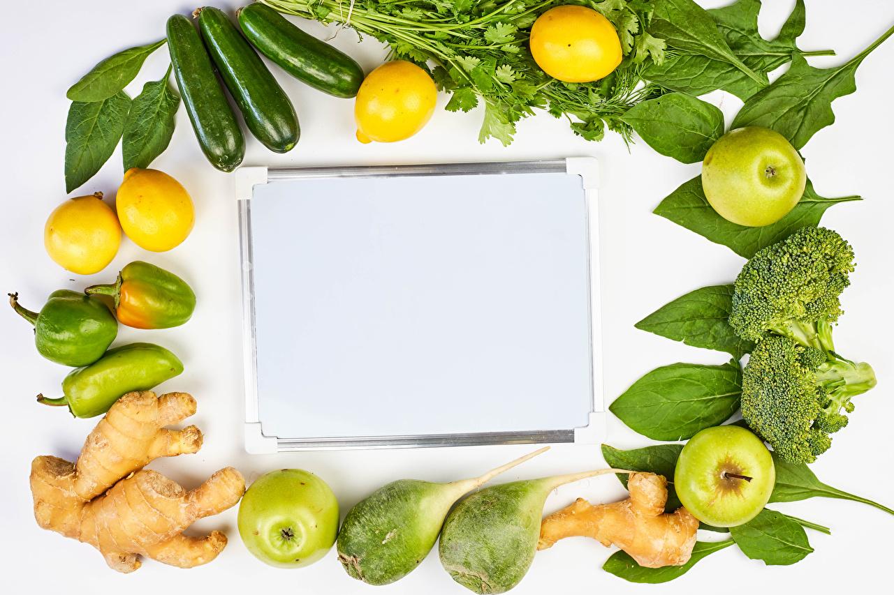 Картинка Имбирь Кабачок Яблоки Лимоны Еда Овощи Перец Шаблон поздравительной открытки кабачки Пища перец овощной Продукты питания