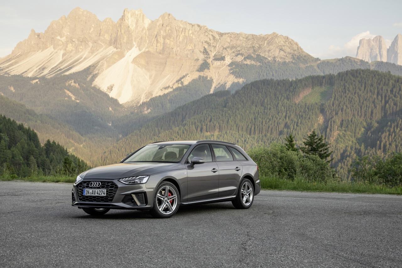 Обои для рабочего стола Ауди Универсал 2019 A4 Avant 40 TDI S line quattro Worldwide Серый машина Металлик Audi серые серая авто машины автомобиль Автомобили