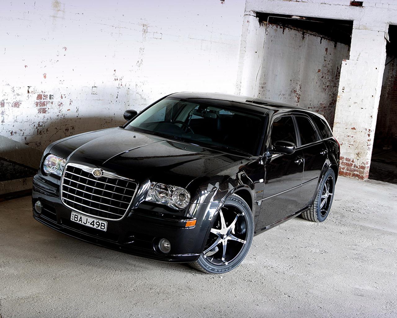 Фотографии Chrysler 2007 300C SRT8 E490 Touring Черный машины Металлик Крайслер черных черные черная авто машина автомобиль Автомобили