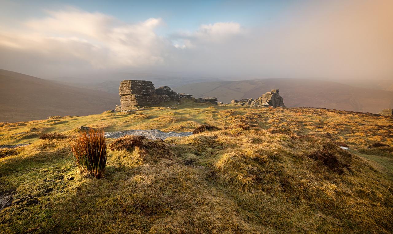 Фотография Англия Dartmoor Природа Руины холмов Камни холм Холмы Развалины Камень