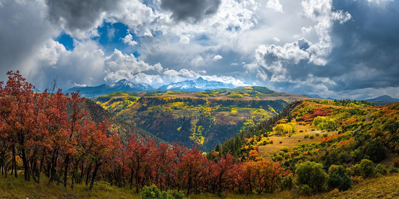 Фото штаты Панорама Colorado Горы осенние Природа Пейзаж облачно США америка панорамная гора Осень Облака облако