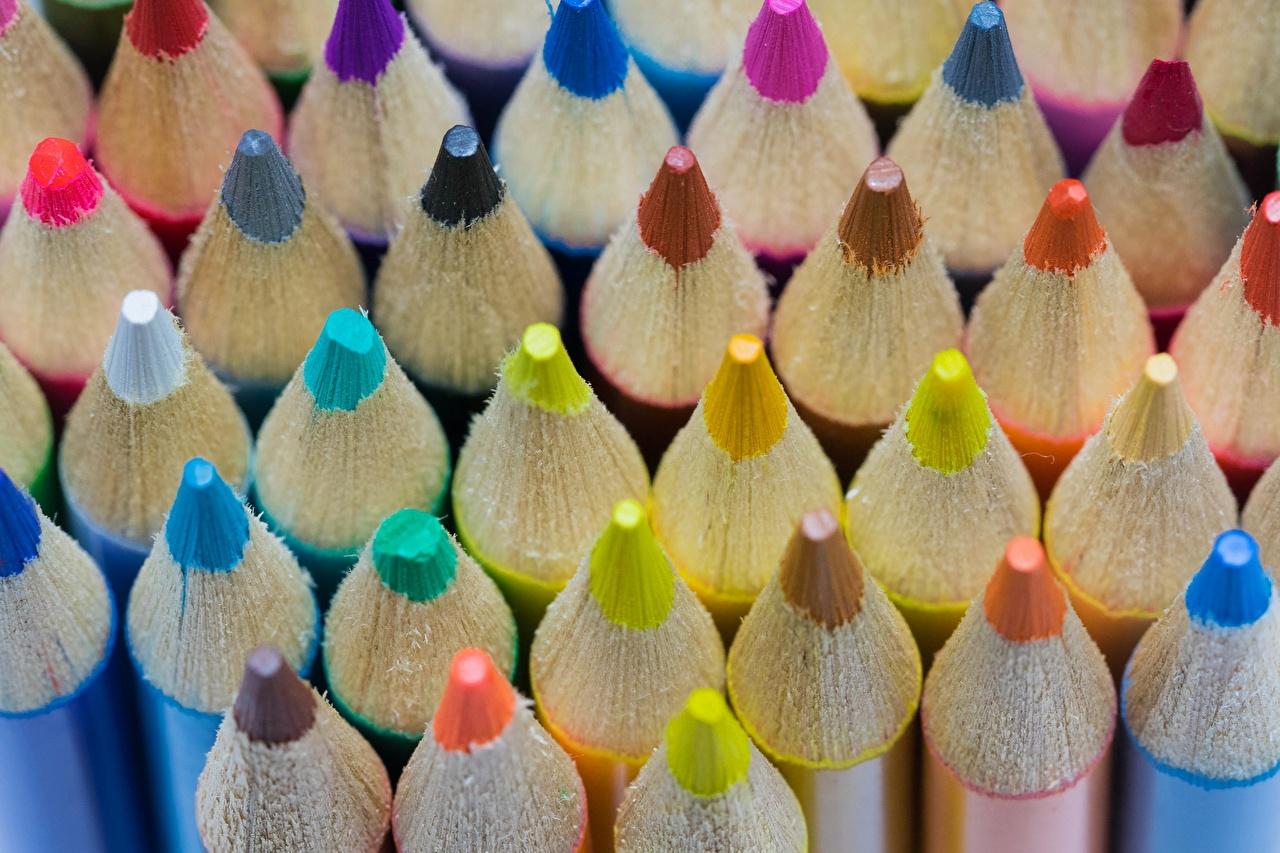 Обои Карандаши Разноцветные Макро вблизи Макросъёмка Крупным планом