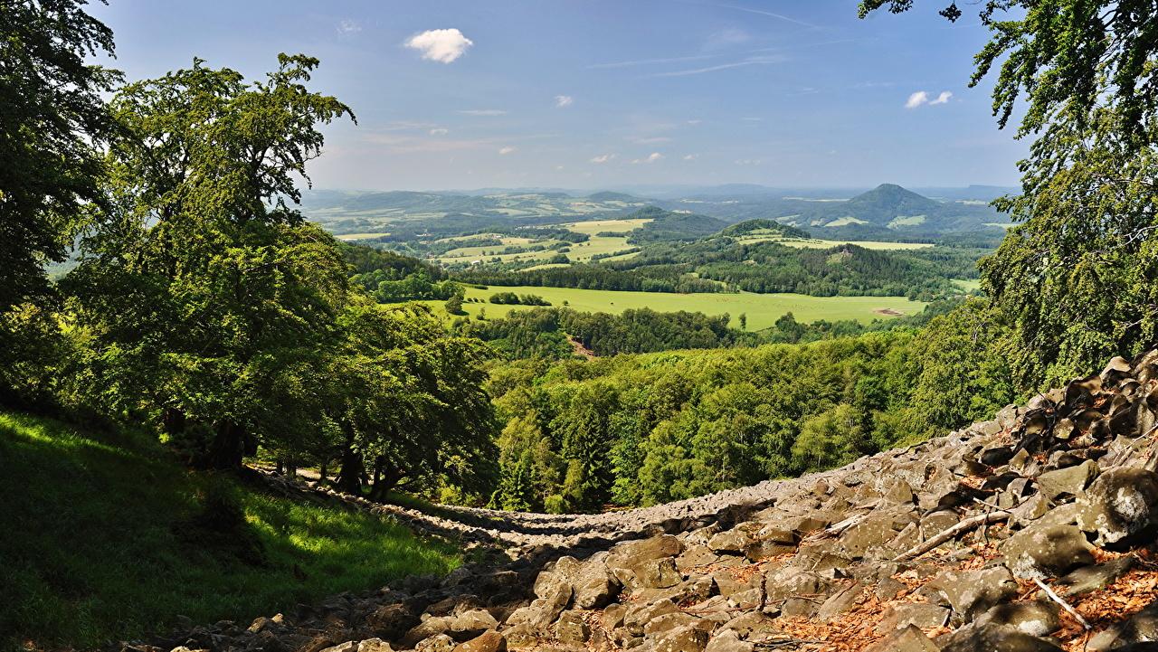 Фотографии Чехия Česká Kamenice Природа Пейзаж Горизонт горизонта