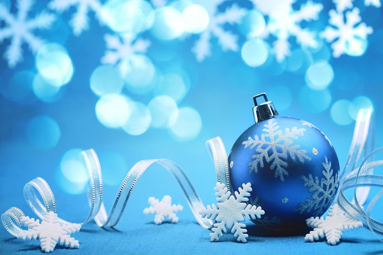 Картинка Рождество Синий Снежинки Шар Новый год Шарики