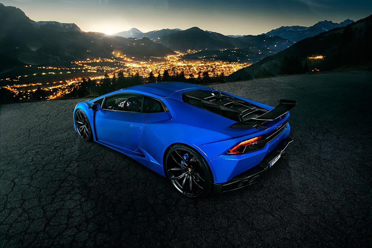 Фотография Lamborghini Novitec Torado Huracan синие ночью автомобиль Ламборгини синих Синий синяя Ночь авто в ночи машина машины Ночные Автомобили