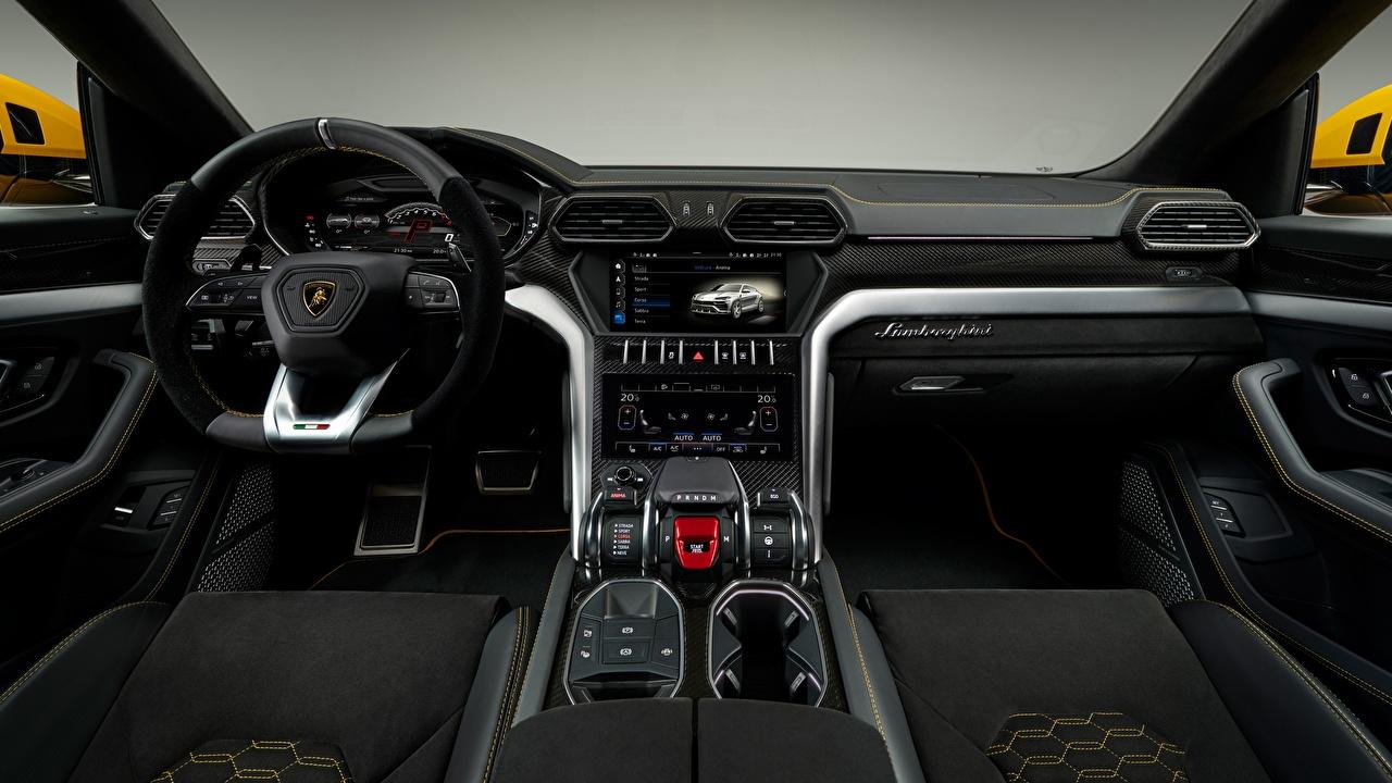 Картинка Lamborghini Салоны Автомобильный руль 2018 Urus Автомобили Ламборгини Рулевое колесо авто машина машины автомобиль