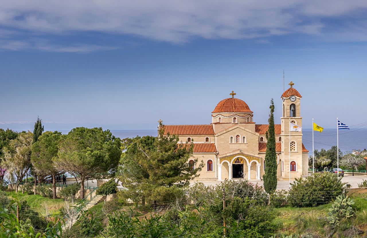 Фото Церковь Республика Кипр Agios Raphael Church Pachyammos Cyprus Храмы Города дерева город дерево Деревья деревьев