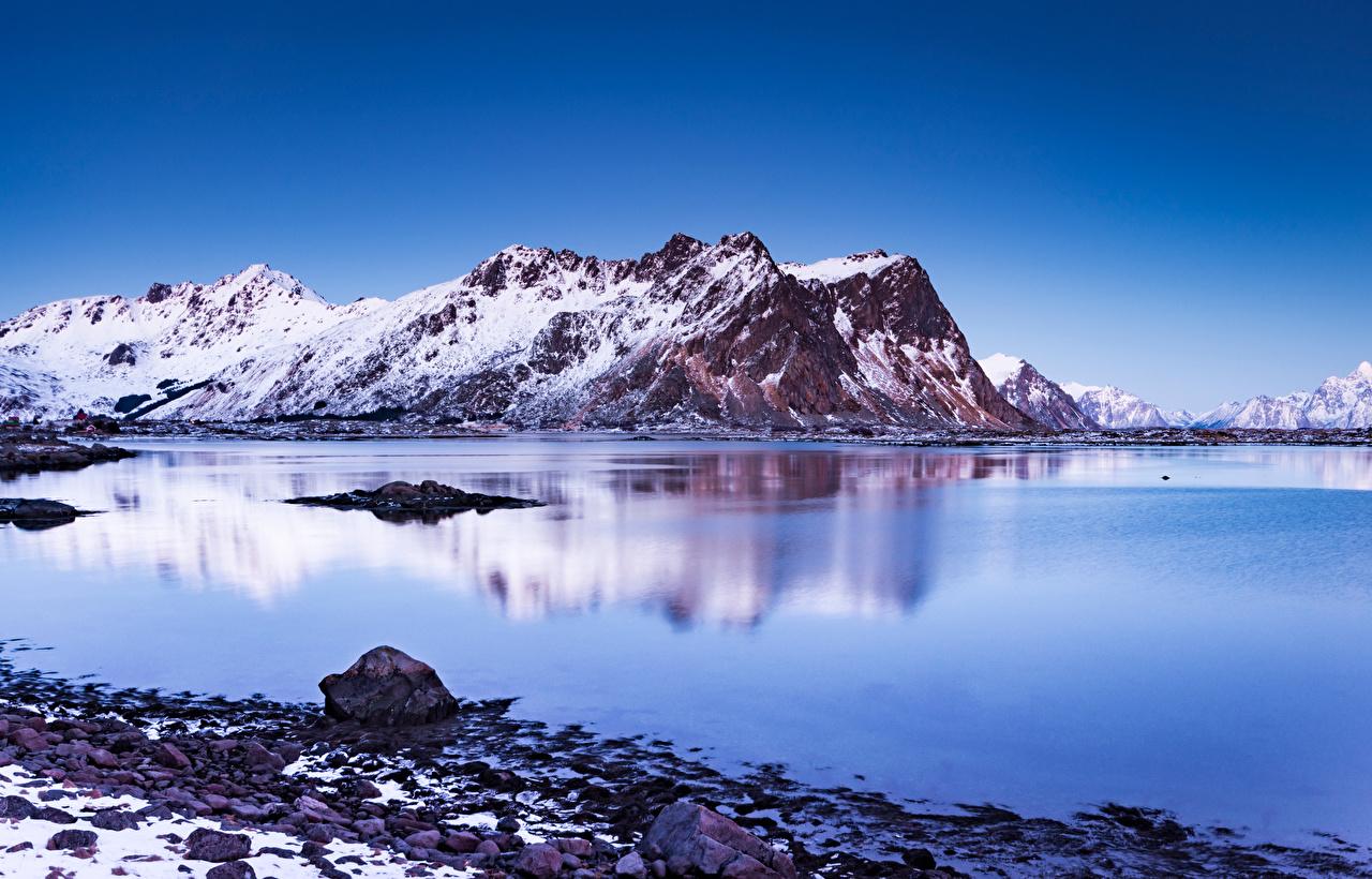 Картинки Лофотенские острова Норвегия Vestvågøya гора Природа Пейзаж Горы