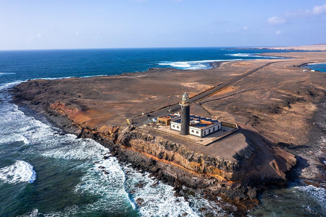 Картинки Канары Испания Fuerteventura, Punta Jandía Lighthouse Океан Маяки Природа Сверху канарские острова маяк