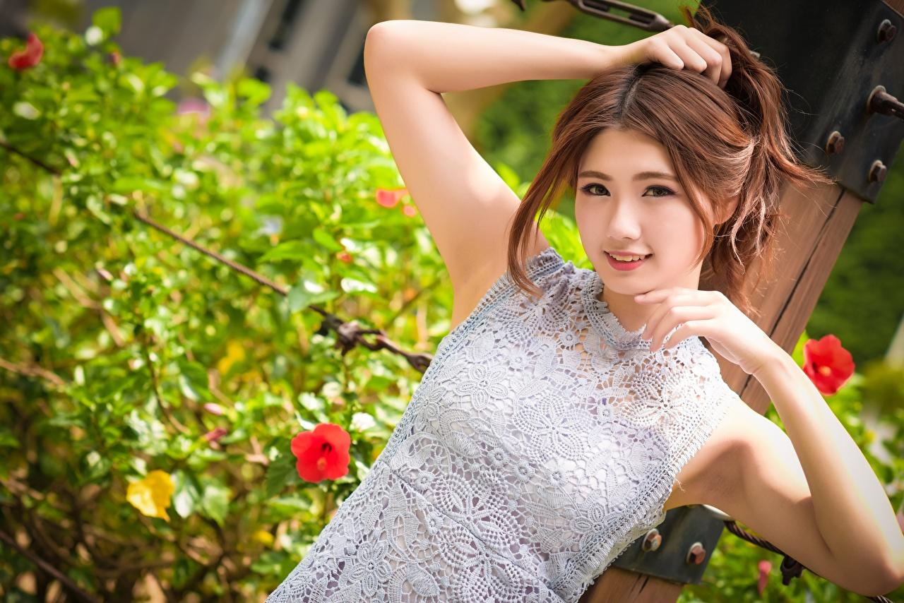 Фото шатенки Улыбка Размытый фон девушка Азиаты Руки смотрят Шатенка улыбается боке Девушки молодая женщина молодые женщины азиатки азиатка рука Взгляд смотрит