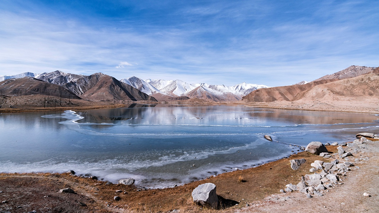 Обои для рабочего стола Китай Mount Muztag ATA Горы Природа Озеро Камень гора Камни