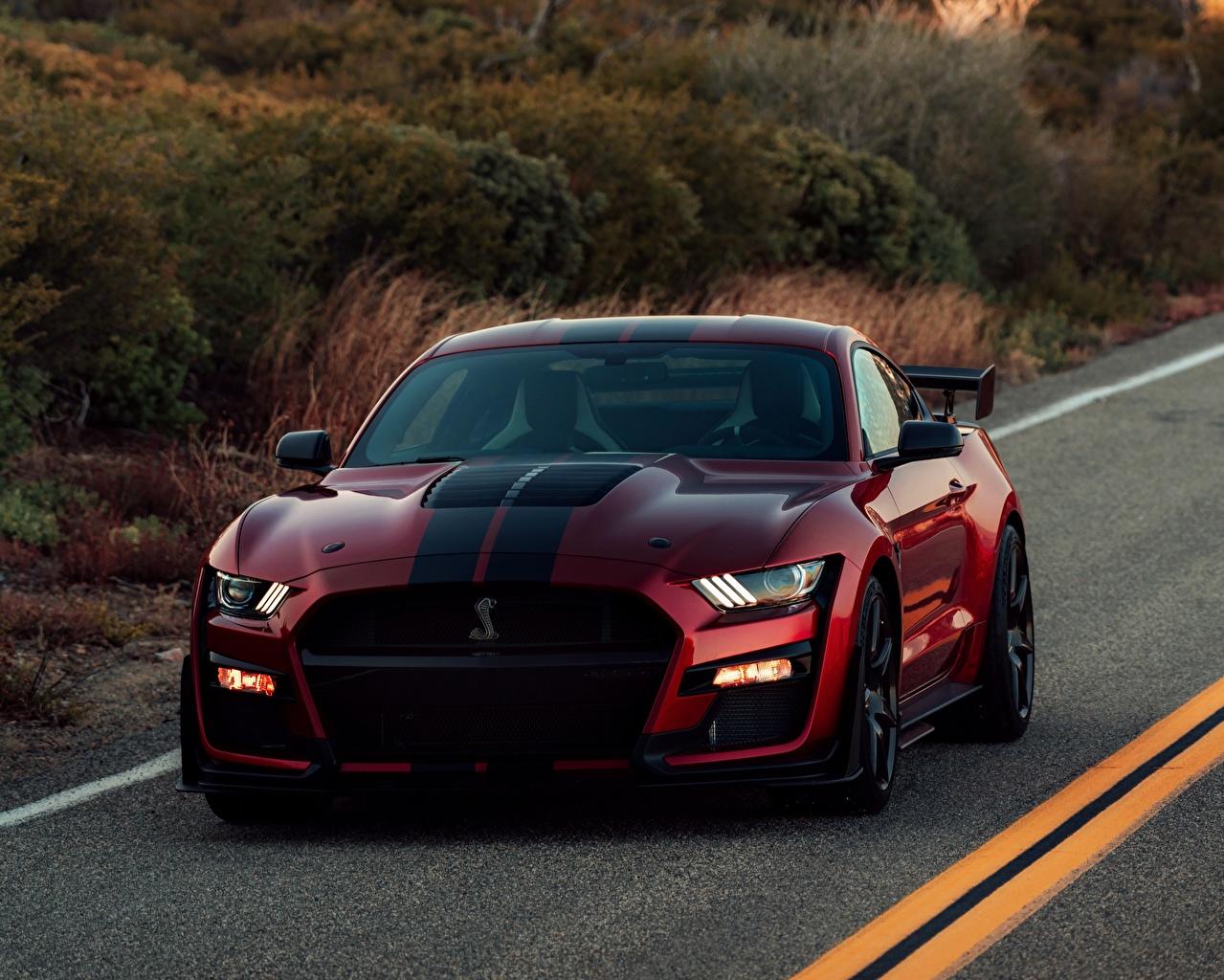 Обои для рабочего стола Ford Mustang Shelby GT500 2019 красные Автомобили Форд красных Красный красная авто машина машины автомобиль