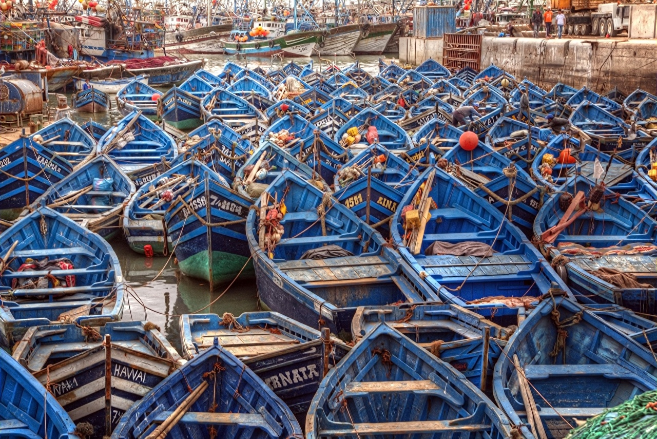 Фото Африка Morocco Essaouira seaport Лодки Много