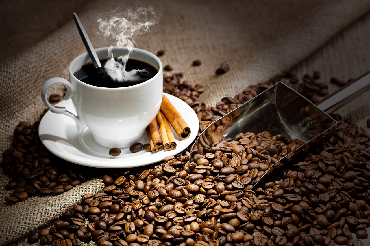 Обои Кофе Зерна Корица Еда Пар Чашка Пища Продукты питания