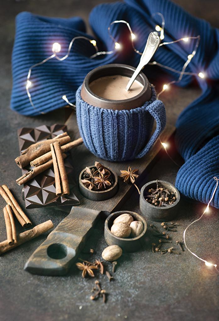 Обои Горячий шоколад Бадьян звезда аниса Корица Чашка Продукты питания Электрическая гирлянда Какао напиток Еда Пища Гирлянда