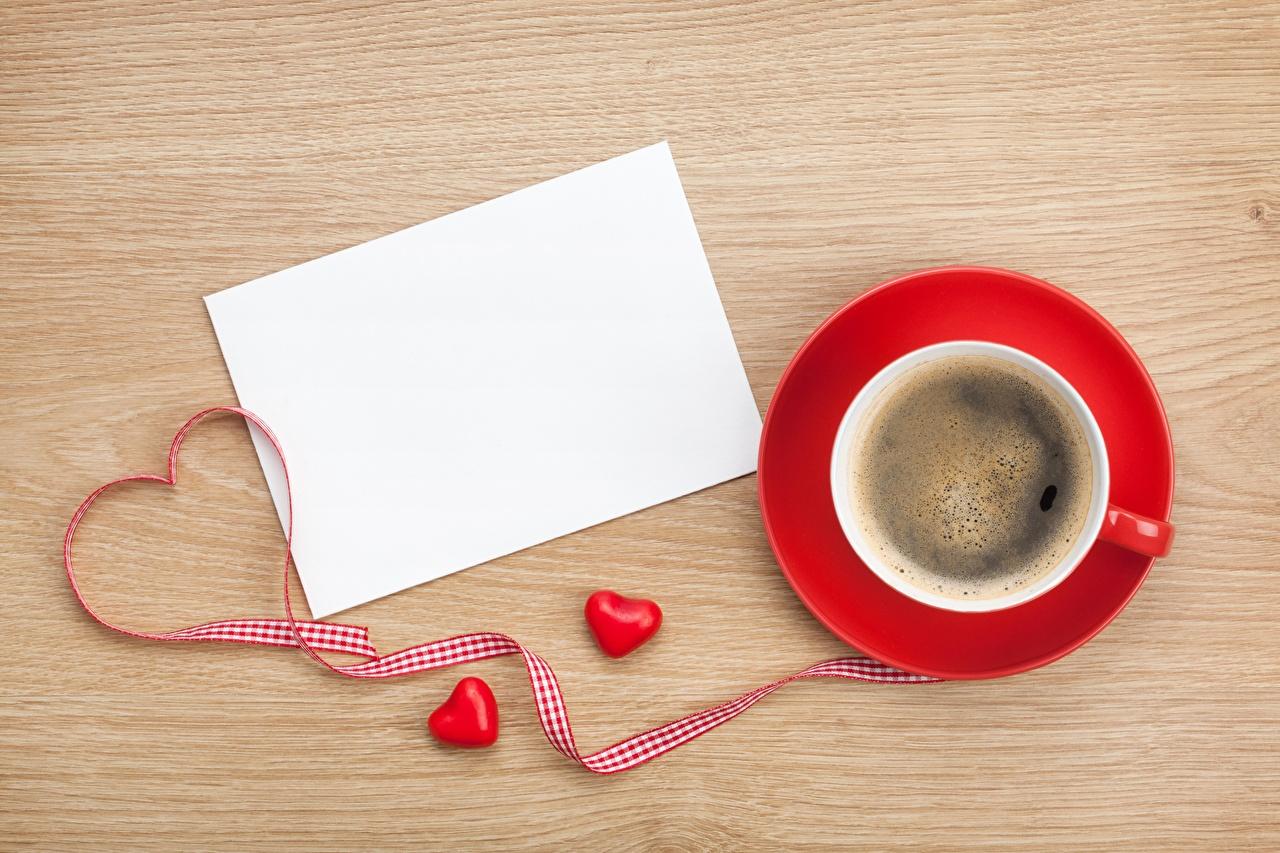 Фото Сердце Кофе Чашка ленточка Продукты питания Шаблон поздравительной открытки сердечко Еда Пища Лента