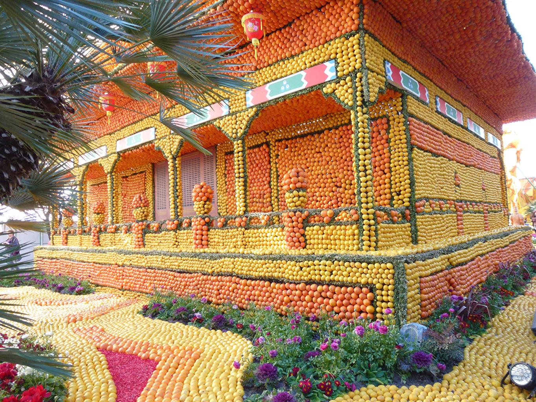 Картинка Франция Lemon Festival Menton Природа Апельсин Парки Лимоны Здания Дизайн парк Дома дизайна