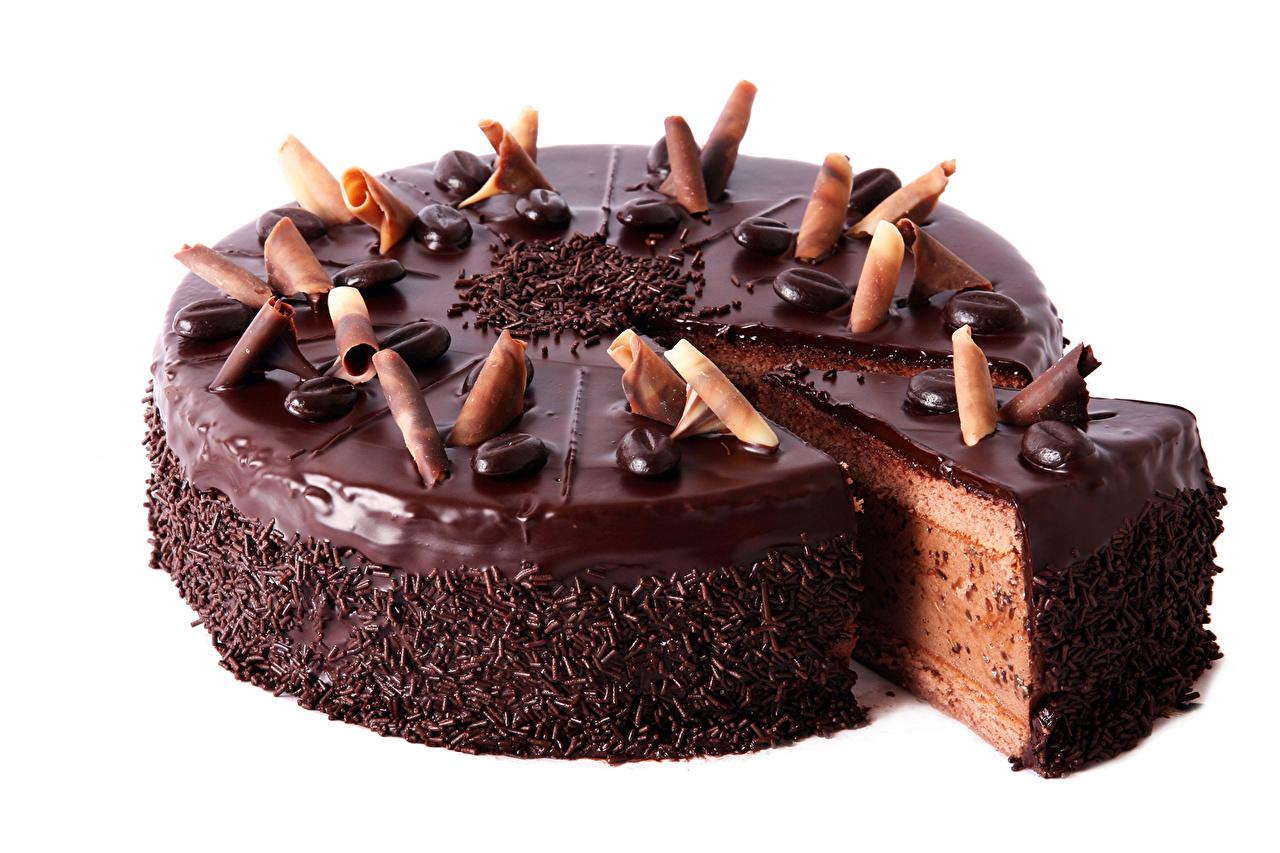 Картинка Шоколад Торты Пища Сладости белым фоном Еда Продукты питания Белый фон белом фоне сладкая еда
