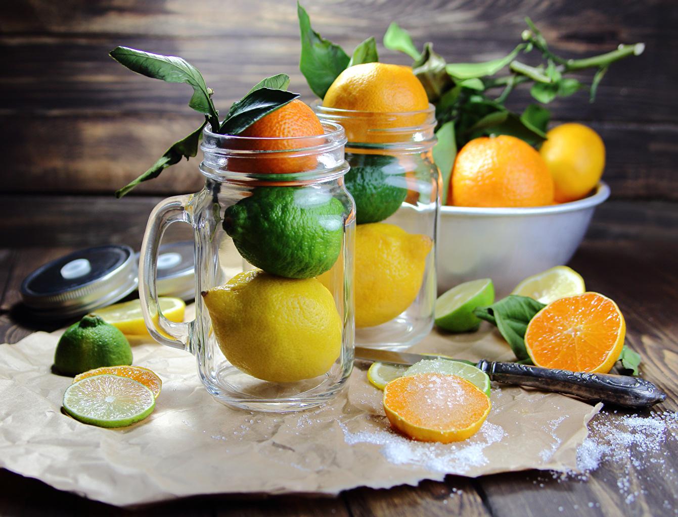Картинки Лайм Апельсин Мандарины банке Лимоны кружке Продукты питания Цитрусовые Доски банки Банка Еда Пища Кружка кружки