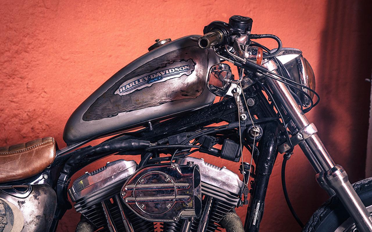 Фотографии Xарлей дэвидсон chopper vintage Мотоциклы Крупным планом Harley-Davidson вблизи