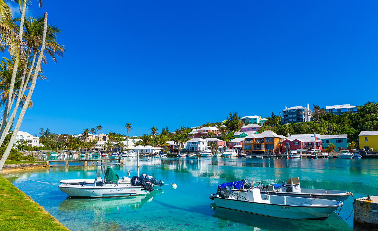 Фотография поселок Harrington Sound Flatts Village Bermuda Залив Лодки Причалы Дома город село Деревня Пирсы залива заливы Пристань Города Здания
