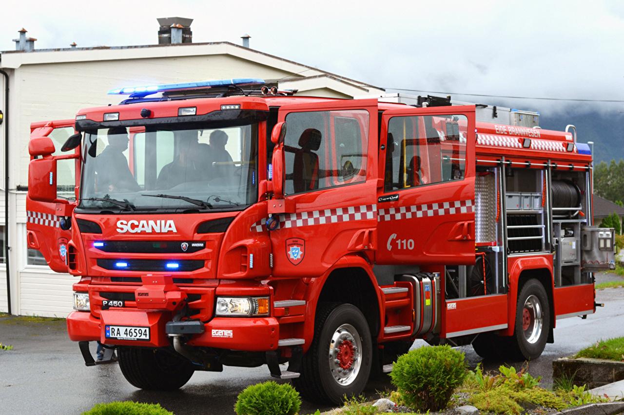 Фото Сканиа Пожарный автомобиль 2017 P450 4×4 Egenes brandbil Красный Автомобили Scania Авто Машины
