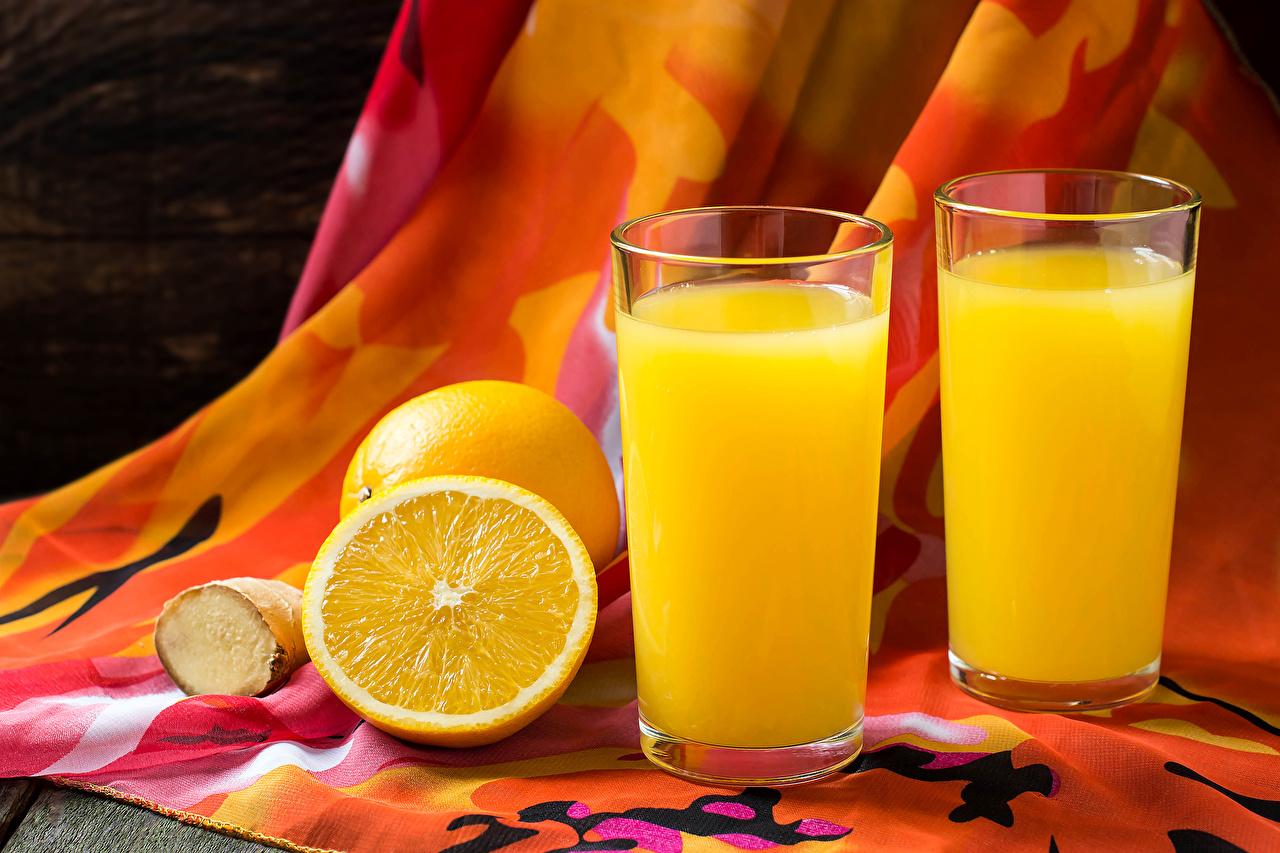 Картинка Сок Двое Апельсин стакана Пища Напитки 2 два две вдвоем Стакан стакане Еда Продукты питания напиток