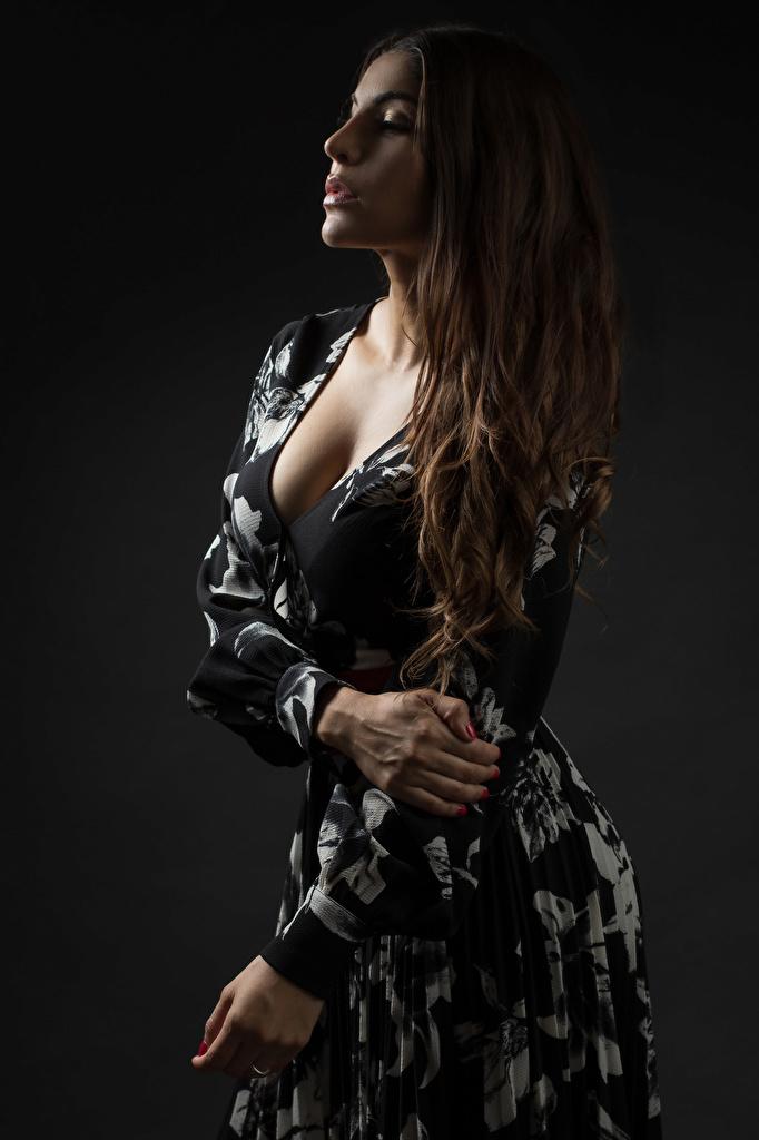 Фотография Шатенка Priscila Декольте молодая женщина Руки Платье  для мобильного телефона шатенки вырез на платье девушка Девушки молодые женщины рука платья