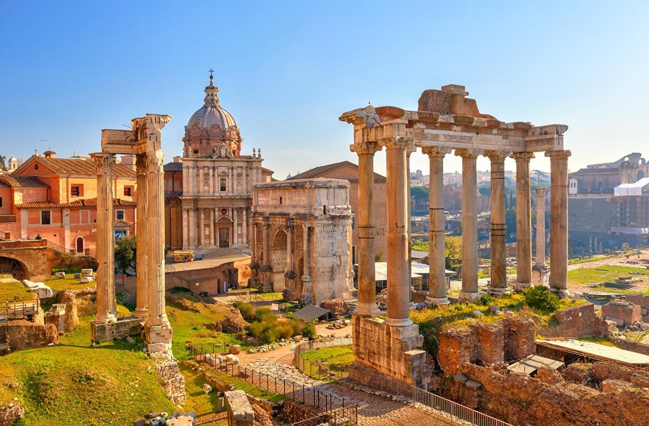 Картинка Рим Италия колонны Arch Septimius Severus, Temple Saturn Развалины Города Колонна Руины город