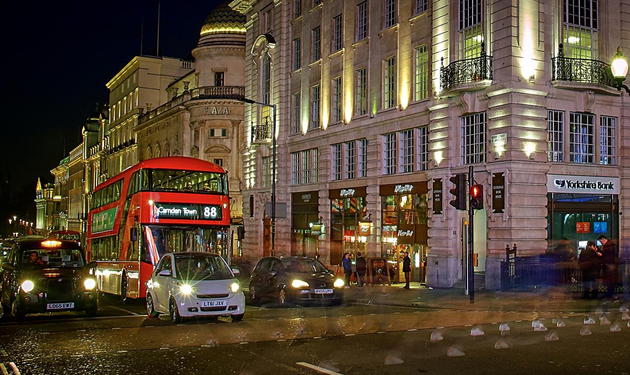 Фотография Лондон Великобритания Улица Ночные Уличные фонари Дома Города лондоне улиц улице Ночь ночью в ночи Здания