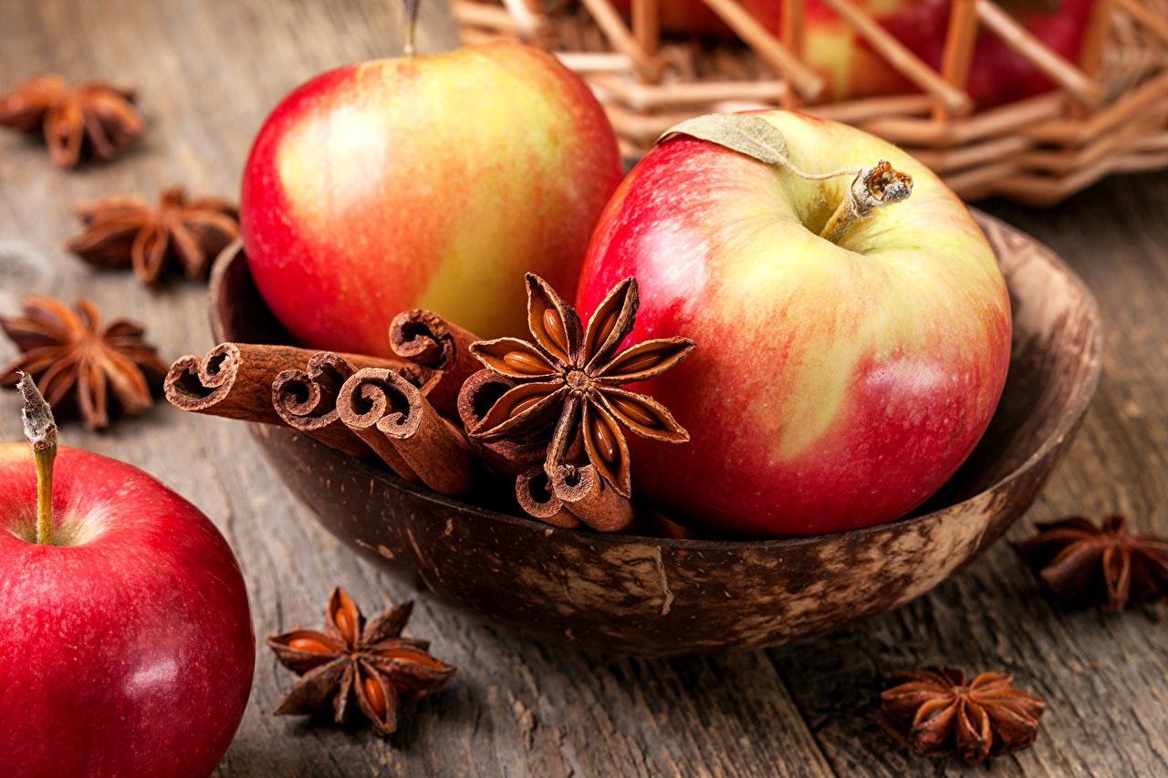 Картинка Бадьян звезда аниса Корица Яблоки Пища вблизи Еда Продукты питания Крупным планом