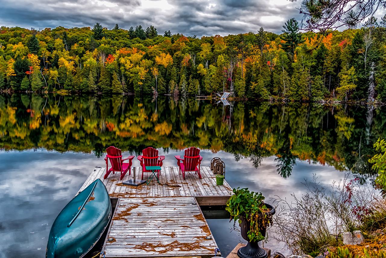 Фото Канада Ontario Природа Леса Озеро Отражение Лодки Причалы Пирсы Пристань